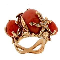 Yellow Gold Coral Diamonds Cocktail Ring