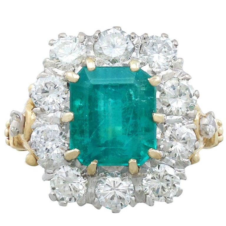 1950s 3.60 Carat Emerald and 1.85 Carat Diamond Yellow Gold Cocktail Ring