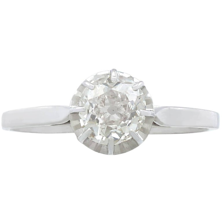 1920s French 1.70 Carat Diamond White Gold Solitaire Ring