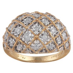 Buccellati Bombe White and Yellow Gold and Diamonds Ring