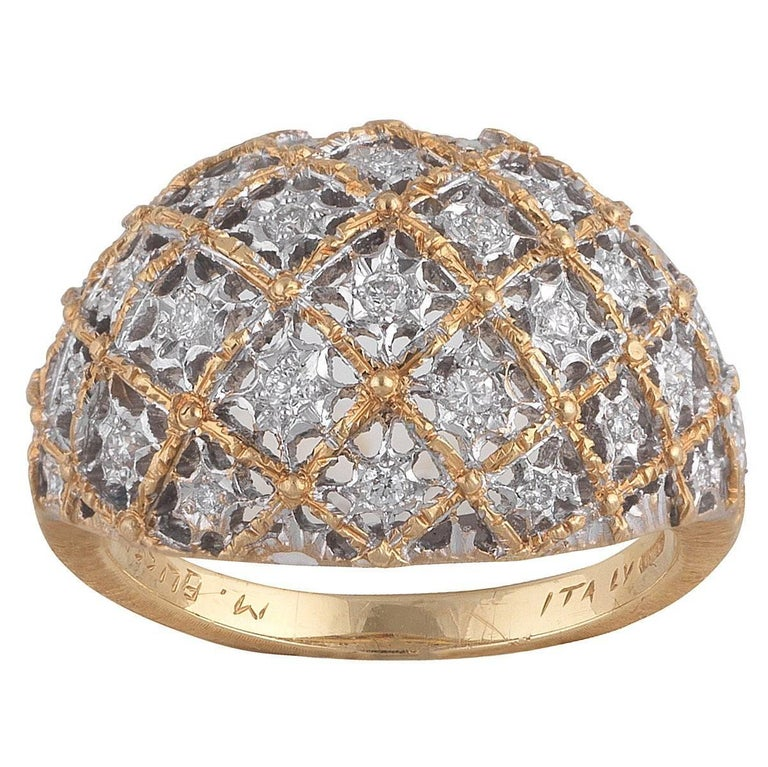 Buccellati Bombe White and Yellow Gold and Diamonds Ring For Sale