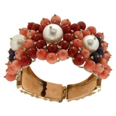 Yellow Gold Diamond Coral Pearls Retro Bracelet