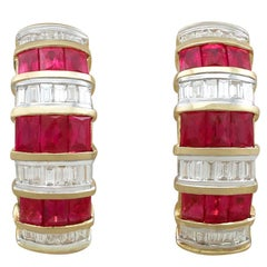 2000s Contemporary 1.80 Carat Ruby and 1.05 Carat Diamond Yellow Gold Earrings