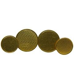 Original 1960s Hand Engraved Yellow Gold Cufflinks