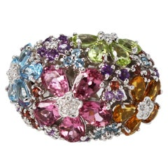 Multi-Colored Gem and Diamond Cocktail Ring