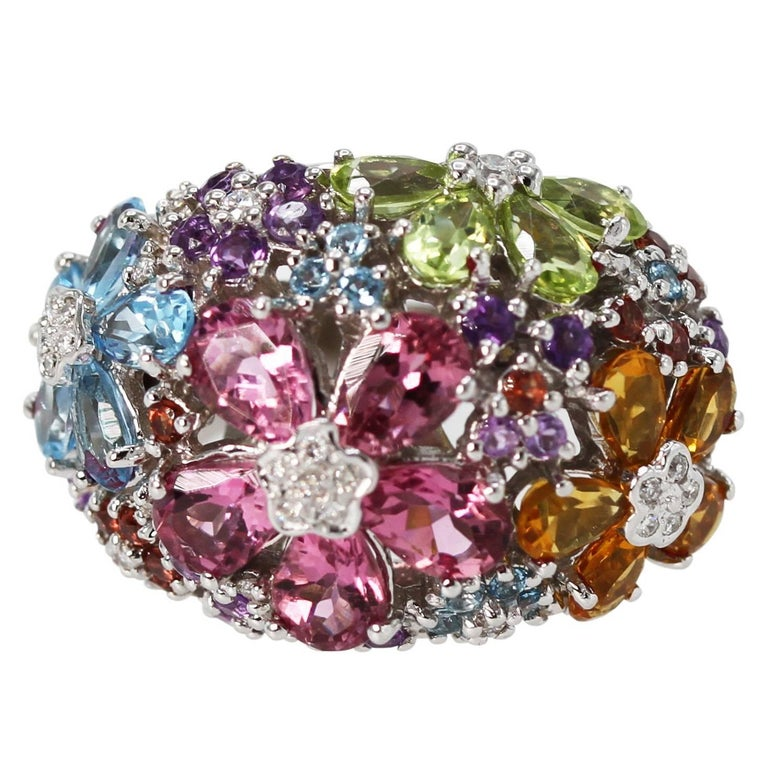 Multi-Colored Gem and Diamond Cocktail Ring For Sale