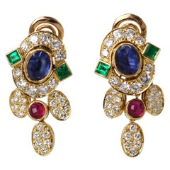 Colored Stone and Diamond Pendant Earclips