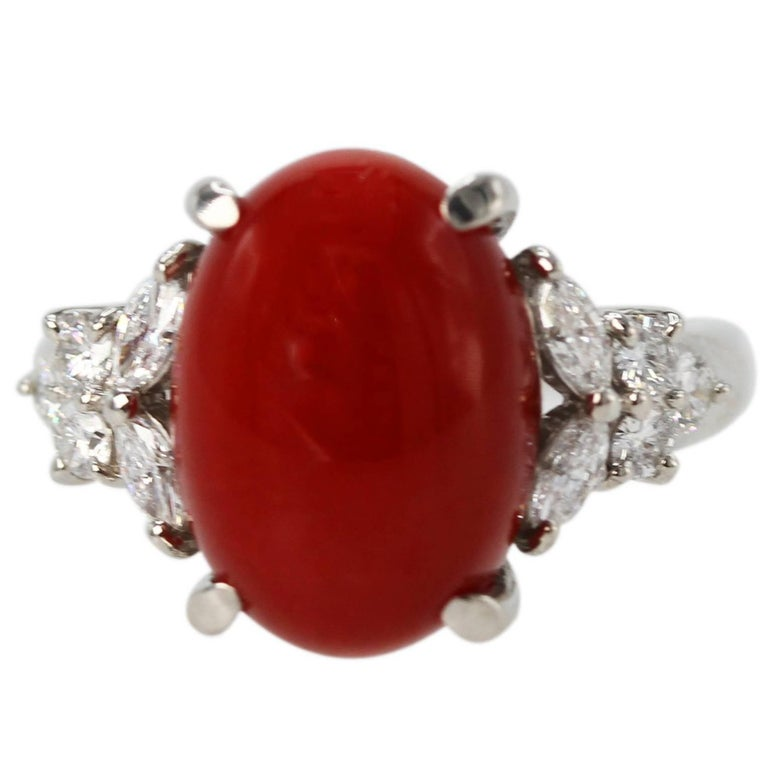 Red Coral and Diamond Ring For Sale