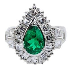 GIA Certified 1.52 Carat Emerald and Diamond Ring