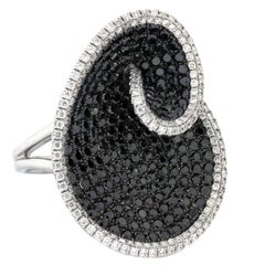 Black and White Diamond Gold Ring