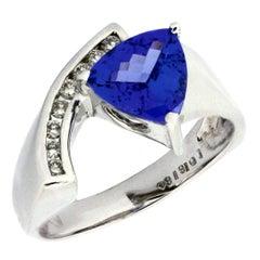Trillion Cut Tanzanite Diamond Gold Ring