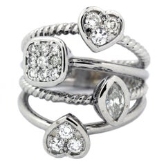 White Gold and Multi-Shape Diamond Ring
