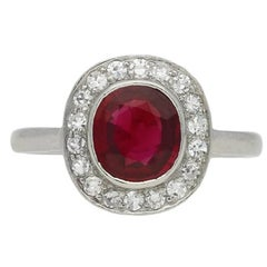 Natural Unenhanced Burmese Ruby and Diamond Coronet Cluster Ring, circa 1920