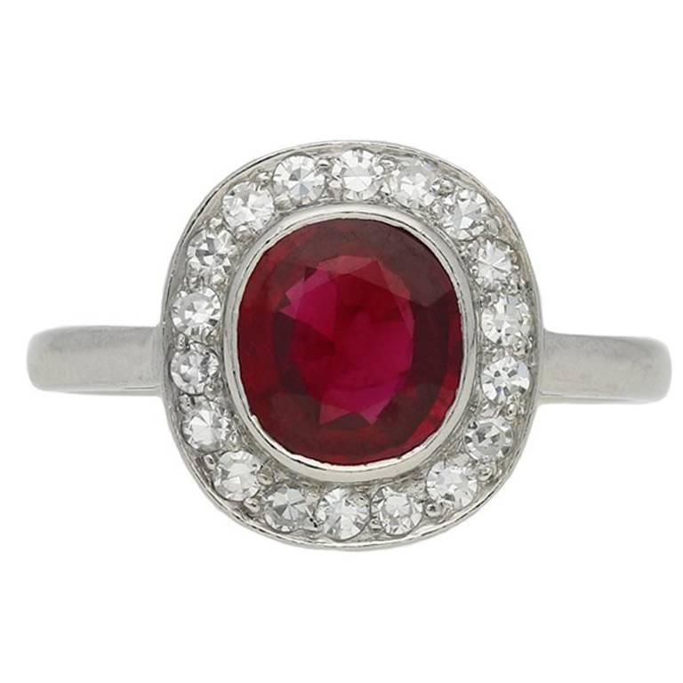 Natural Unenhanced Burmese Ruby and Diamond Coronet Cluster Ring, circa 1920