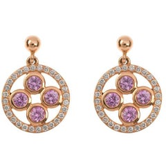 18 Carat Rose Gold Pink Sapphire & Diamond Circle Drop Earrings