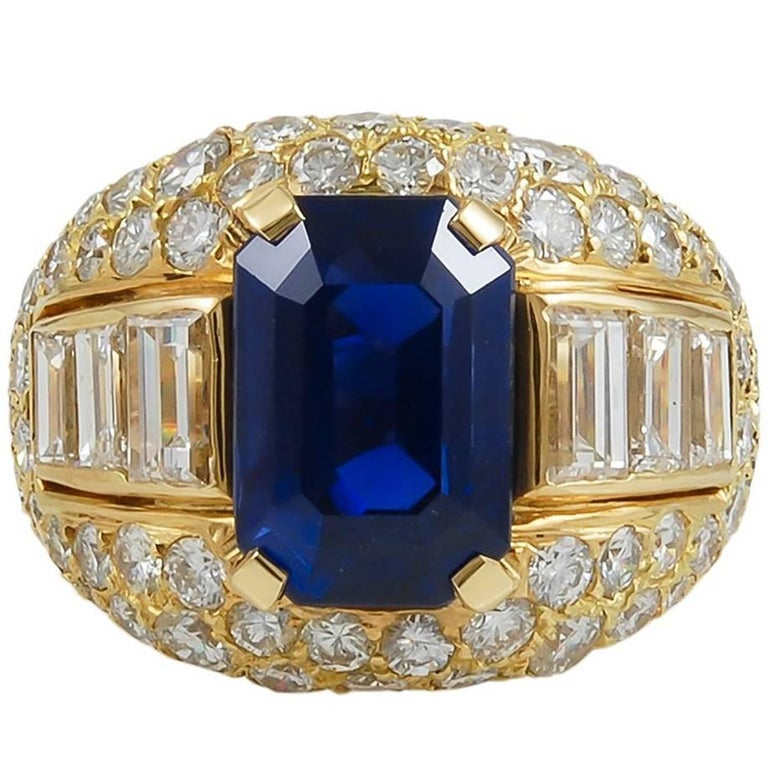 Bulgari Ceylon No-Heat Sapphire Diamond Ring For Sale