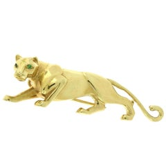 Cartier Panthère 18 Karat Yellow Gold Brooch with Emerald Eyes