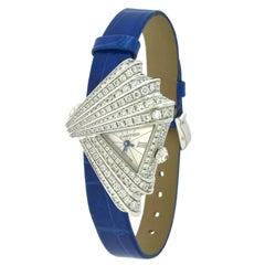 Cartier Libre Montre Froisée Diamond Fan-Shaped Watch in 18 Karat White Gold