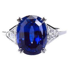 7.49 Carat Oval Burma No Heat Sapphire Diamond Ring