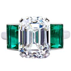 6.36 Carat Emerald Cut Diamond Colombian Emerald Platinum Ring GIA Certified