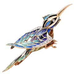 1960's Enamel, Diamond and Gold Hummingbird Brooch