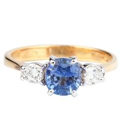 Cornflower Blue 0.92 Carat Sapphire and Diamond Ring