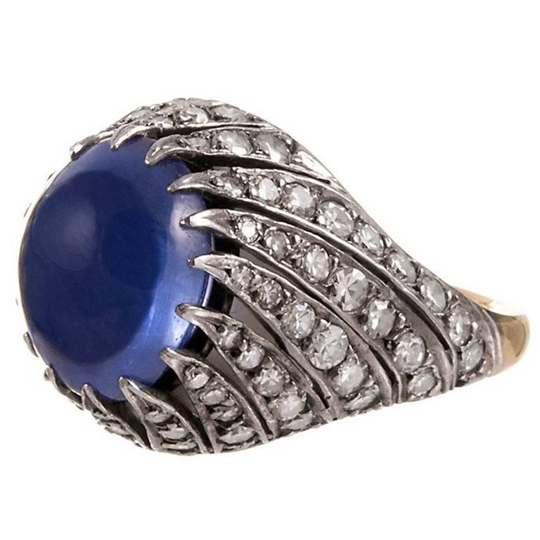 Natural 9 Carat Sri Lanka Cabochon Sapphire Diamond Ring