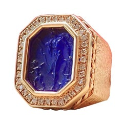 14 Karat Gold Hammered Texture Blue Intaglio Ring with 0.43 Carat of Diamond