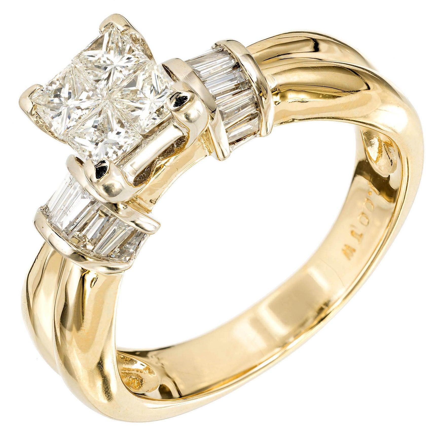 1.00 Carat Diamond Princess Cut Gold Engagement Ring