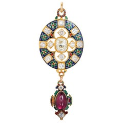Antique Enamel Diamond and Garnet Holbeinesque Pendant, circa 1870