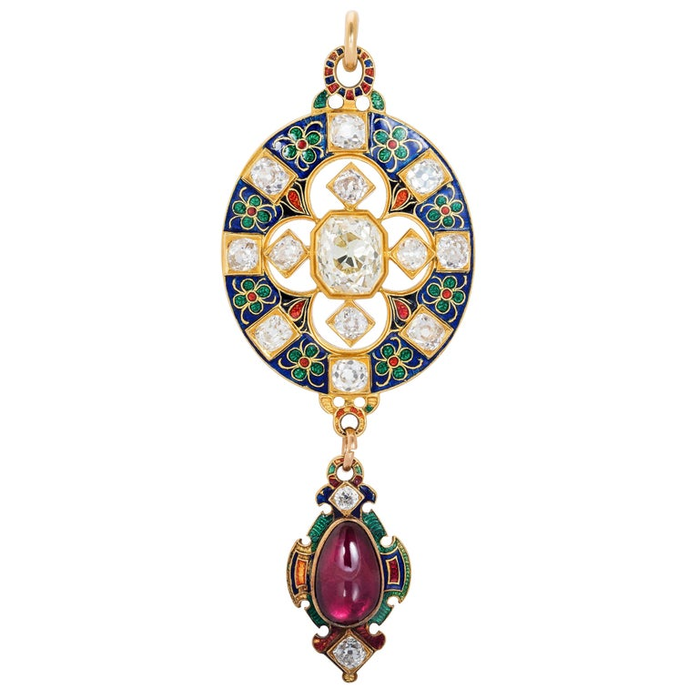 Antique Enamel Diamond and Garnet Holbeinesque Pendant, circa 1870 For Sale