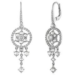 18 Karat White Gold and Diamond Rose Cut Drop Chandelier Earrings