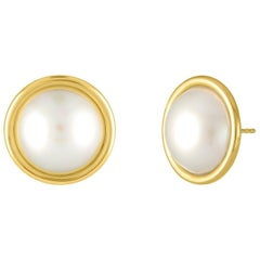 18 Karat Yellow Gold and Mabe Pearl Stud Earrings
