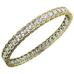 18 Karat Gold and 1.00 Carat Diamond Hand Engraved Bangle, Handmade in Italy