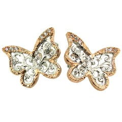 18kt and Diamond Butterfly Engraved Earrings, Handmade in Florence, Italy