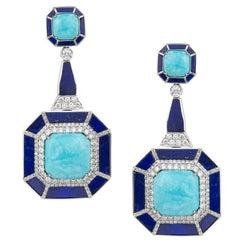 Umrao Turquoise Lapis Lazuli Diamond Earrings