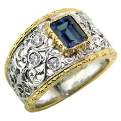 1.25ct Alexandrite and 18 Karat Gold Florentine Engraved Ring, Handmade in Italy