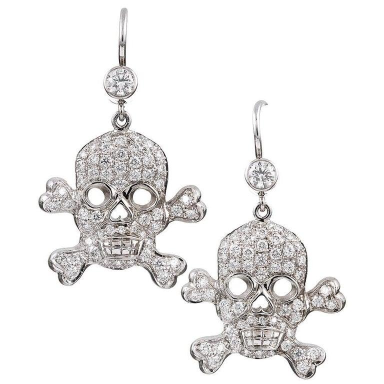 Diamond Gold Skull And Crossbones Earrings For
