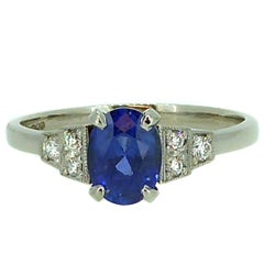 1.25 Carat Oval Sapphire Solitaire Ring, Diamond Set Shoulders
