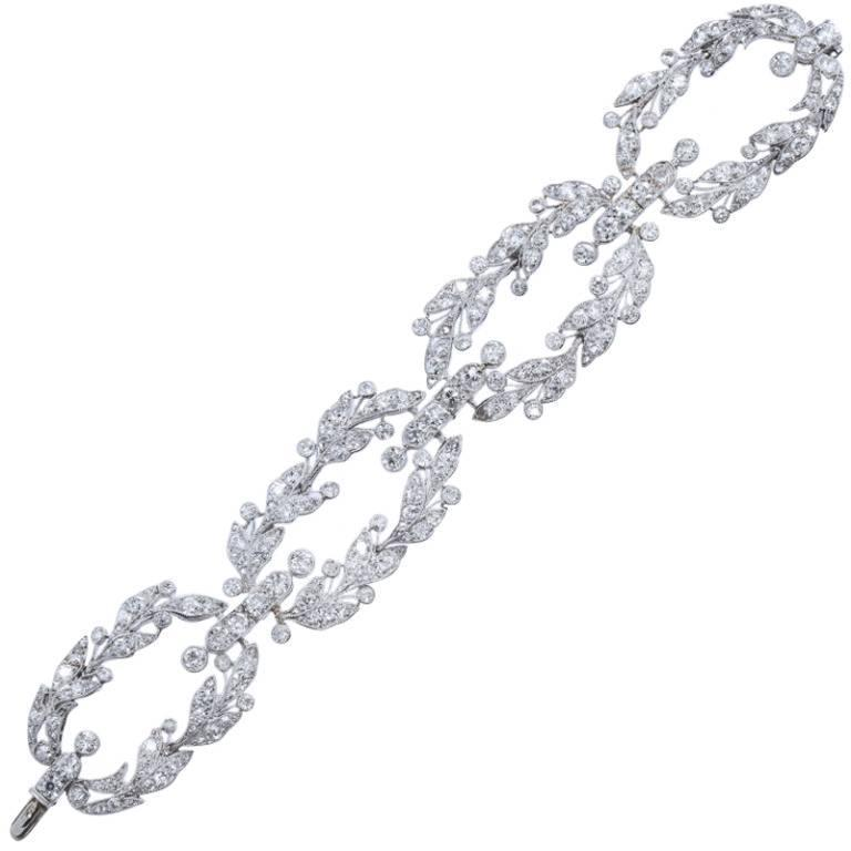 Belle Epoque CARTIER Paris Diamond Platinum Garland Bracelet For Sale