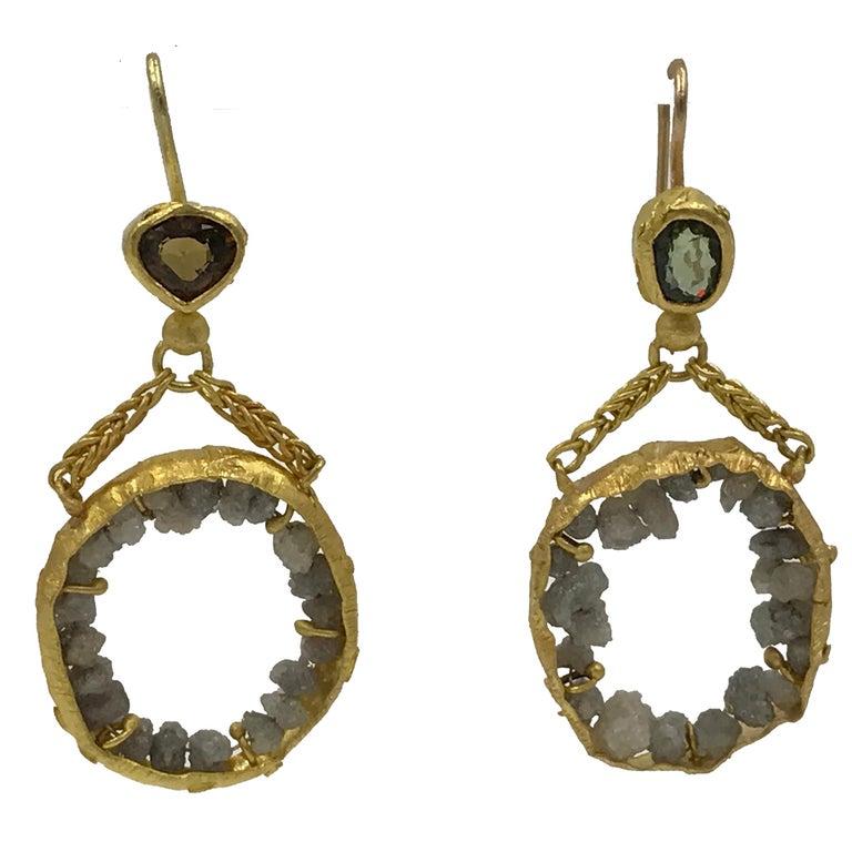 Raw Diamonds Demantoid Garnets 22 Karat - 21 Gold Dangle Chandelier Earrings