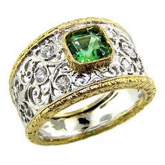 Green Tourmaline and Diamond 18kt Hand Engraved Ring, Handmade in Italy
