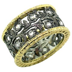 18kt Gold, Blackened Sterling, and Diamond Eternity Band Handmade in Italy