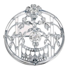 1.23 Carat Art Deco Diamond European Cut Platinum Gold Broche Pendant