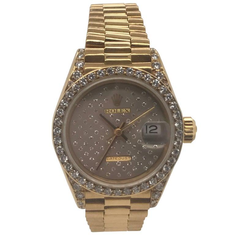 Rolex Ladies Yellow Gold Diamond President Datejust Wristwatch