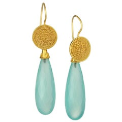 Granulated Gold Tops with Chalcedony Faceted Drops