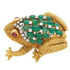 Gold Cabochon Emerald Diamond and Ruby Frog Pin Brooch