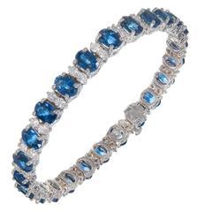 15.60 Carat Blue Sapphire Diamond Gold Link Bracelet