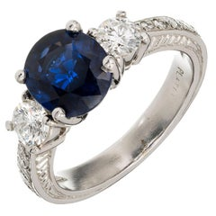 Peter Suchy 2.48 Carat Blue Natural Sapphire Diamond Platinum Engagement Ring
