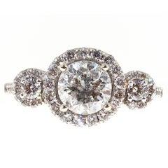 Diamond Three Stone Halo Gold Engagement Ring